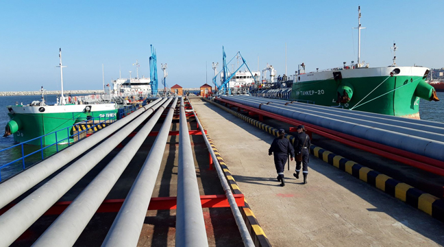 Oil Pier No 1 in the seaport of Makhachkala resumes operation upon completion of repair works